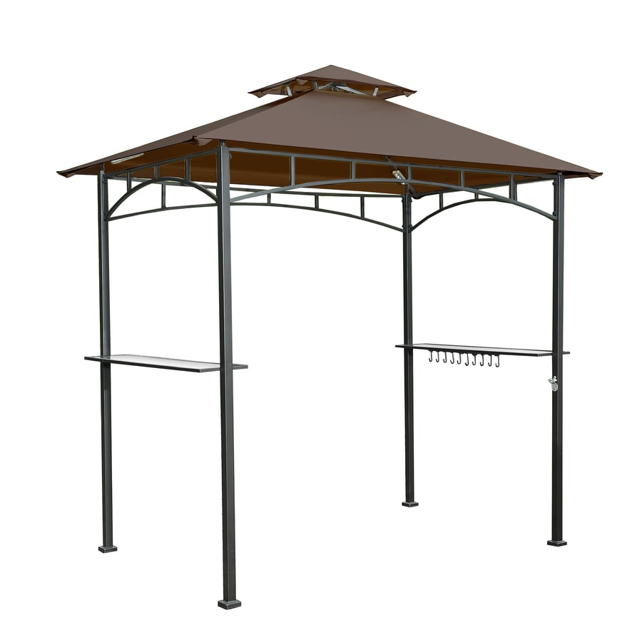 Shop sunjoy brown steel rectangle grill gazebo exterior x 8 ft foundation 5 ft x 8 - Build rectangular gazebo guide models ...
