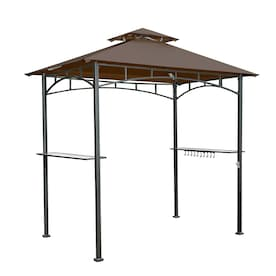 Sunjoy Brown Steel Rectangle Grill Gazebo (Exterior: 4.99-ft x 8-ft; Foundation: 5-ft x 8-ft)