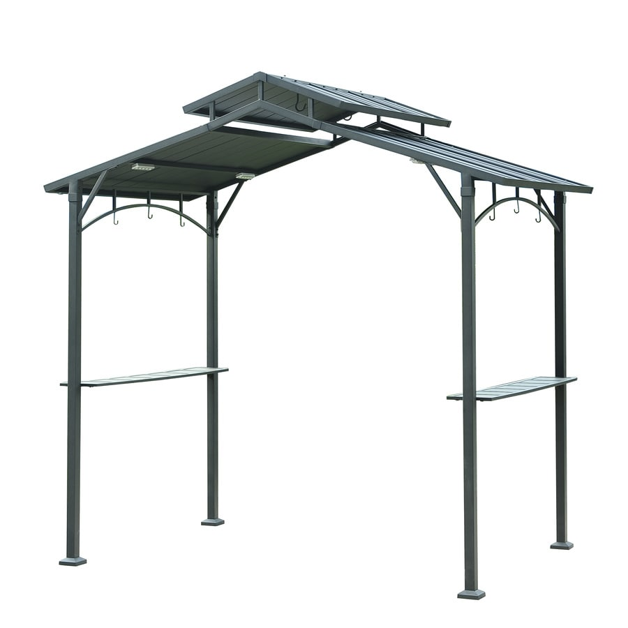 Sunjoy Matt Black Metal Rectangle Grill Gazebo (Exterior: 5 Ft X 8