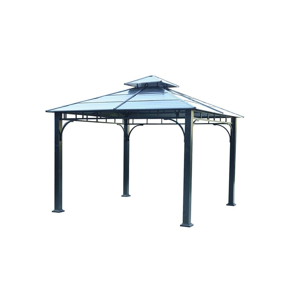 Sunjoy Black Steel Square Gazebo (Exterior: 10.89-ft x 10.89-ft; Foundation: 10-ft x 10 Feet)
