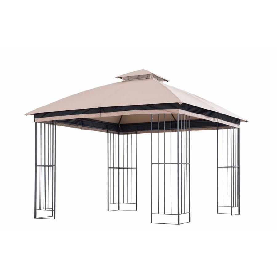 Garden Treasures Brown Metal Square Semi  Gazebo (Exterior: 10.83 Ft X 10.83