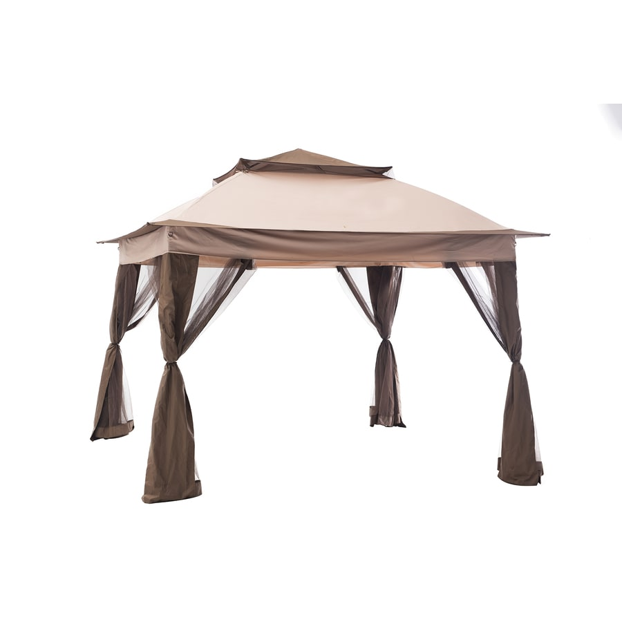 Shop sunjoy brown steel square pop up gazebo exterior 10 for 10 x 9 square feet