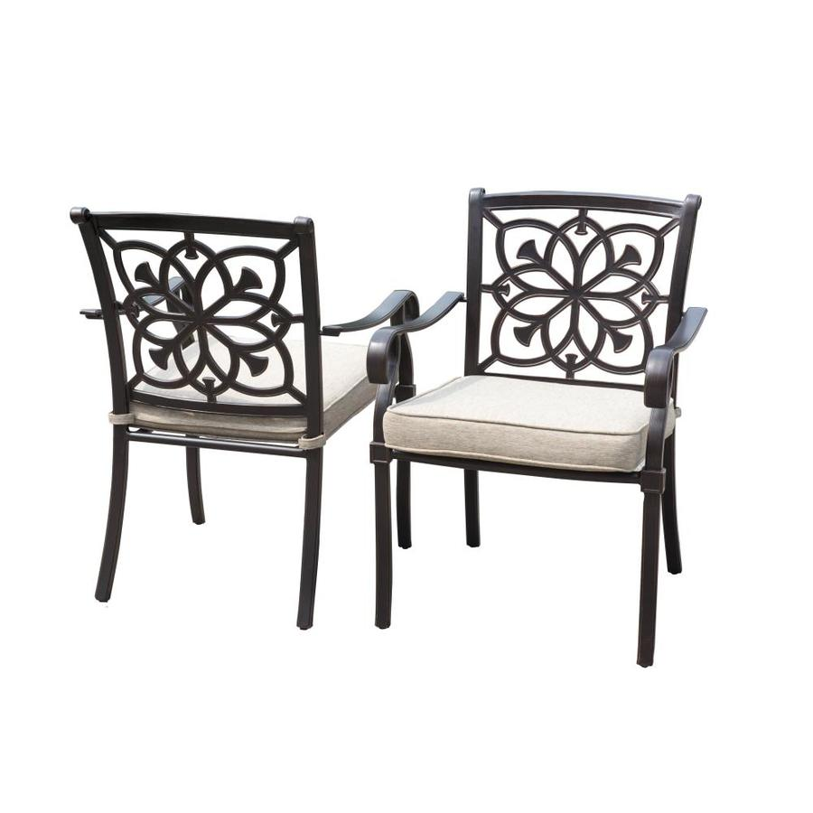 Allen + Roth Ebervale Set Of 2 Brown With Golden Brush Aluminum Patio  Dining Chairs With