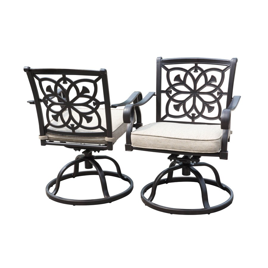 Tan stackable plastic resin lawn chairs - Allen Roth Ebervale 2 Count Aged Bronze Aluminum Swivel Patio Dining Chairs With Tan