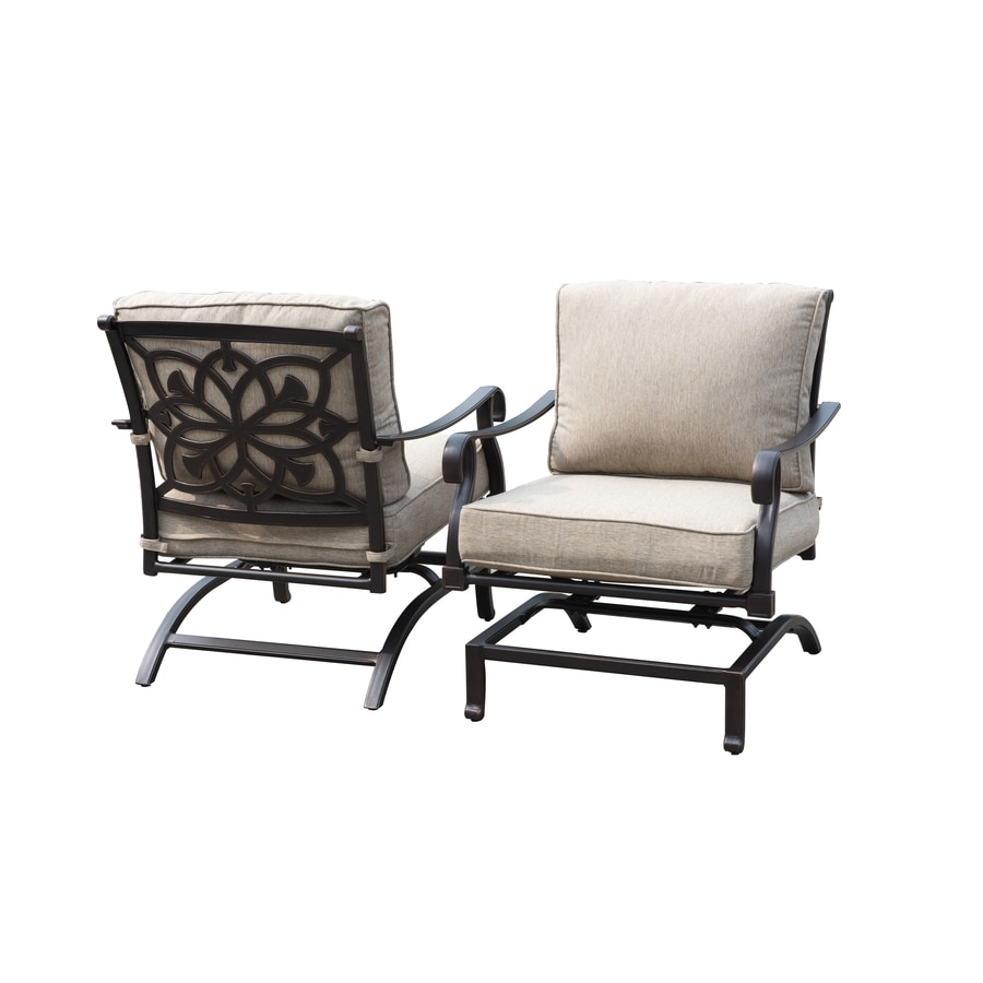 Allen + Roth Ebervale 2 Count Aged Bronze Aluminum Rocking Patio  Conversation Chairs With Tan Part 92