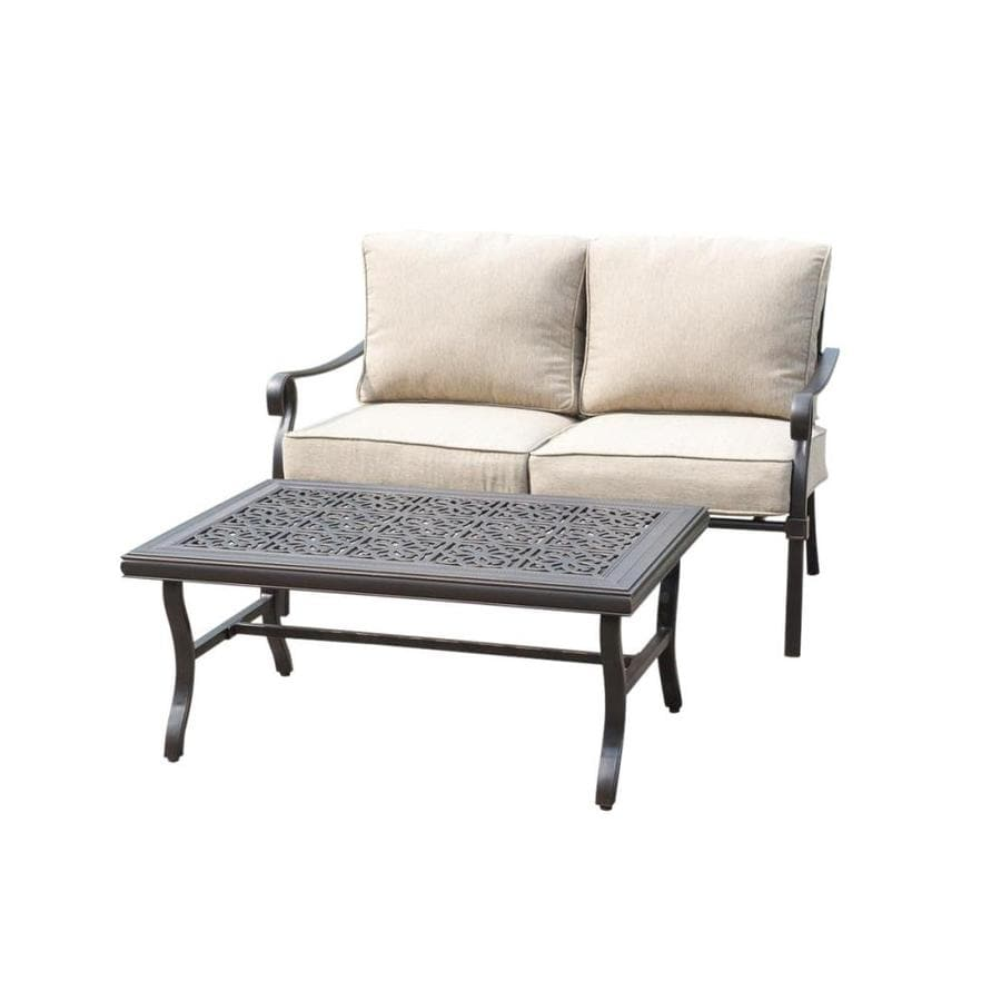 Allen + Roth 2 Piece Aluminum Frame Patio Conversation Set With Tan  Cushions Cushions