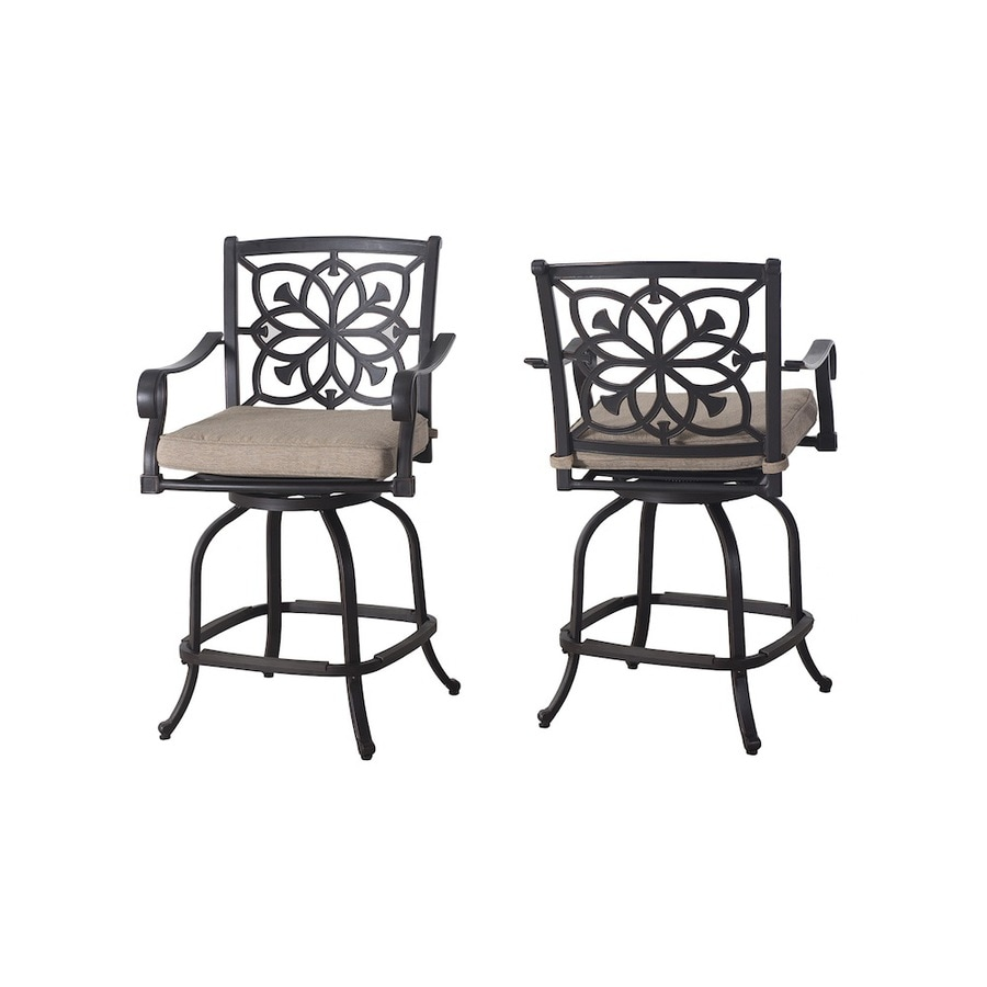 allen + roth 2-Count Brown with Golden Highlights Aluminum Patio Dining Chairs with Tan Cushions