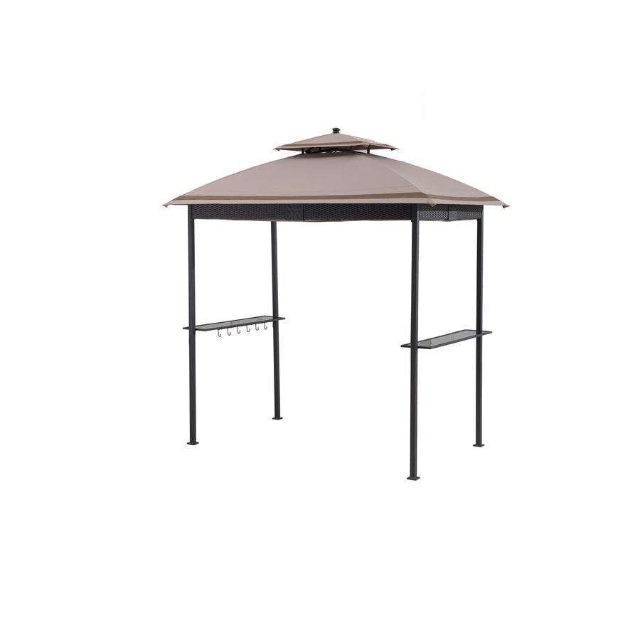 Sunjoy Brown Steel Rectangle Grill Gazebo (Exterior: 5-ft x 8-ft; Foundation: 4.4-ft x 6.8-ft)