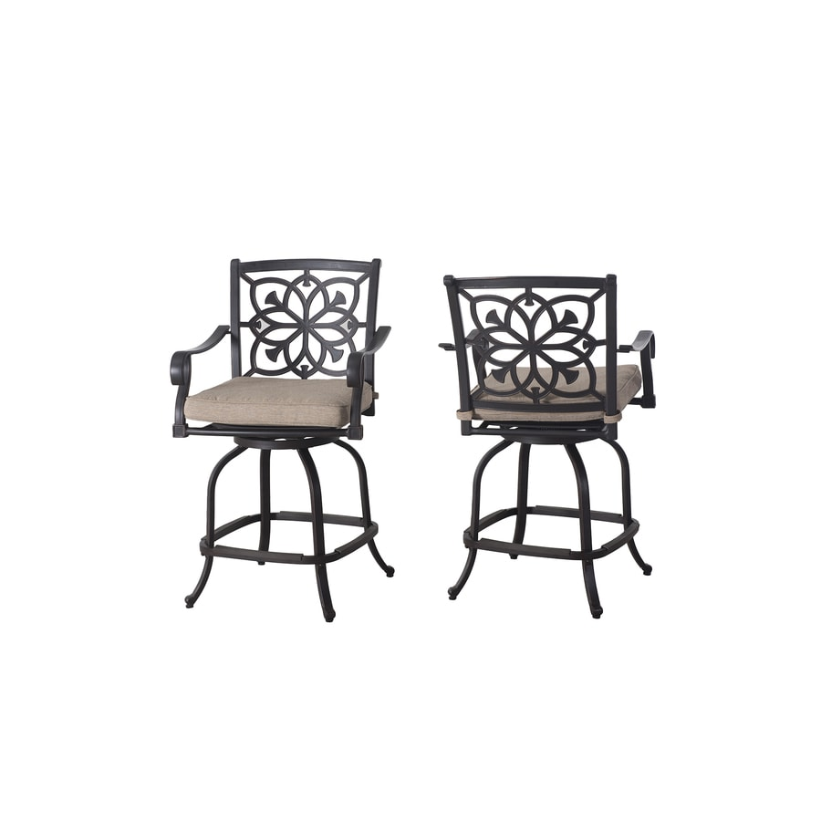 allen + roth Ebervale 2-Count Aged Bronze Aluminum Swivel Patio High Dining Chairs with Tan Solartex Cushions