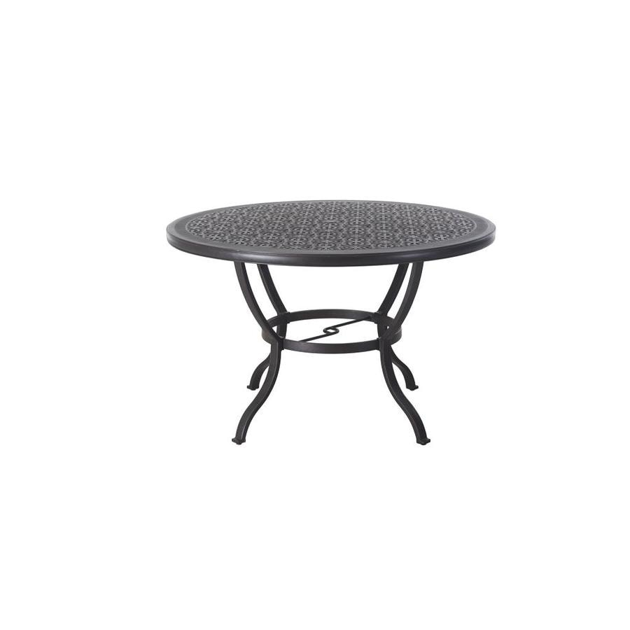 allen + roth Ebervale 60-in W x 60-in L 4-Seat Round Aged Bronze Aluminum Patio High Dining Table with a Patterned Tabletop