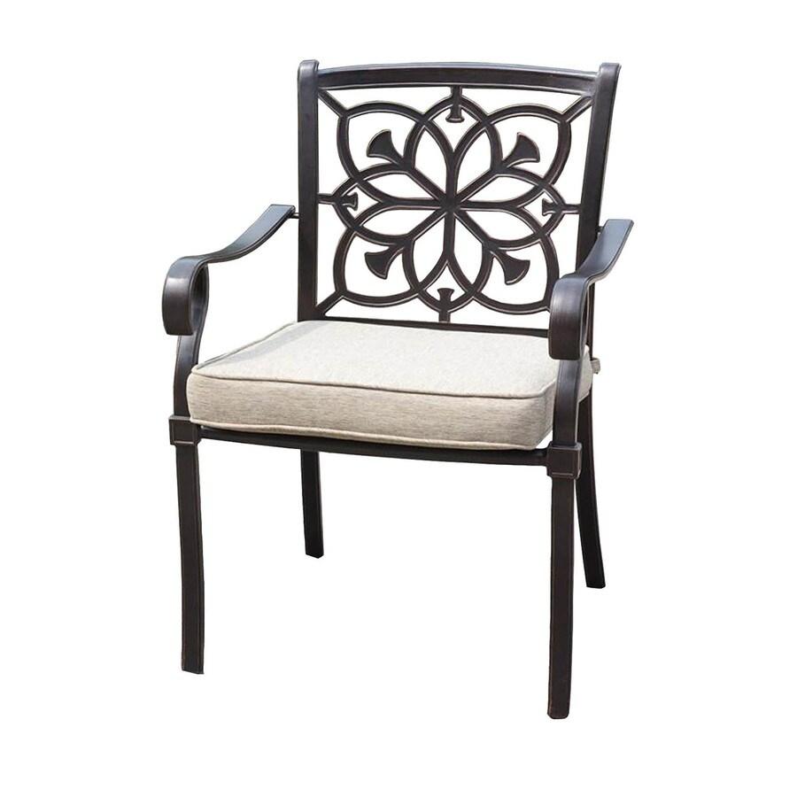 allen + roth Ebervale Aged Bronze Aluminum Patio Dining Chair with a Tan Solartex Cushion