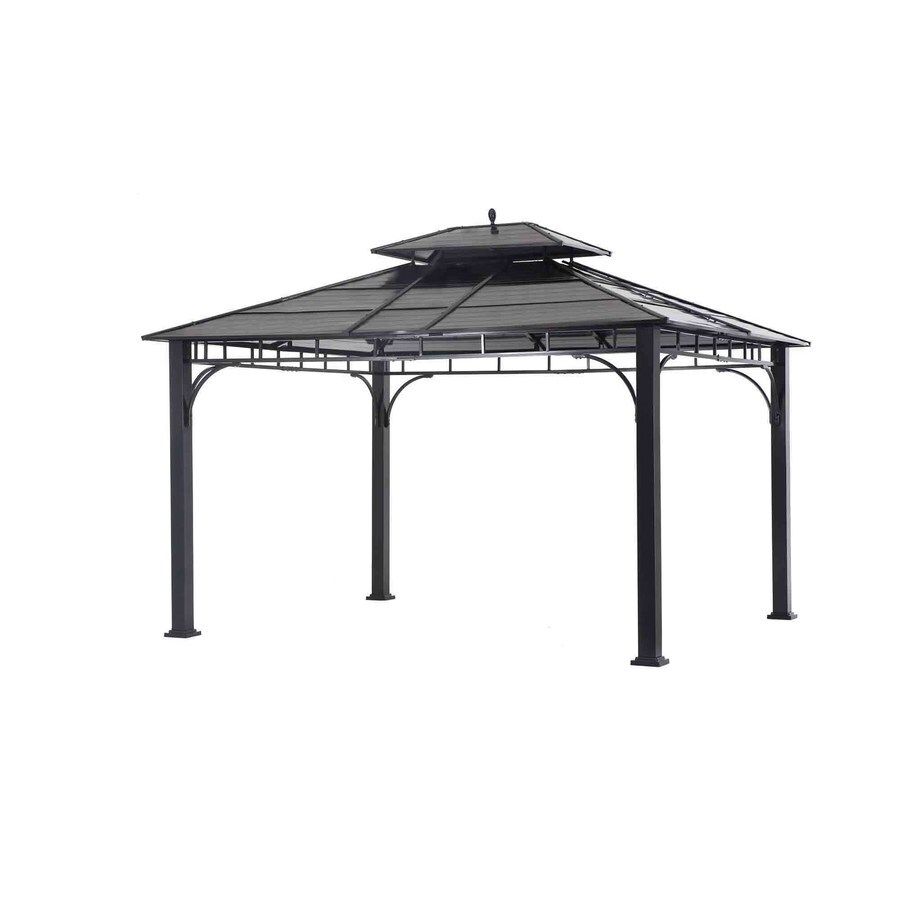 Sunjoy Black Primary Material Rectangle Permanent Gazebo (Exterior: 12-ft x 14-ft; Foundation: 14-ft x 12 Feet)