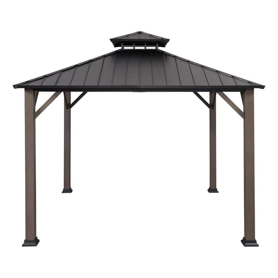 Allen + Roth Black/Woodgrain Metal Square Gazebo (Exterior: 10.925 Ft X