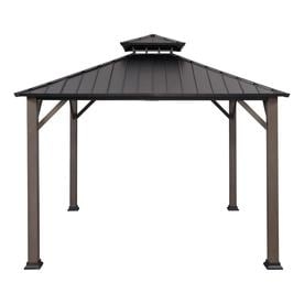 allen + roth Black/Woodgrain Metal Square  Gazebo (Exterior: 10.925-ft x 10.925-ft; Foundation: 10-ft x 10-ft)