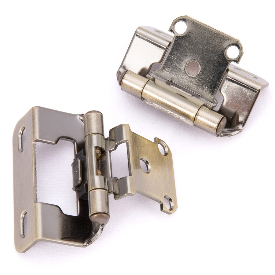 Gatehouse 2-Pack 2-1/4-in x 1-1/2-in Aged Brass Self-Closing Cabinet Hinges
