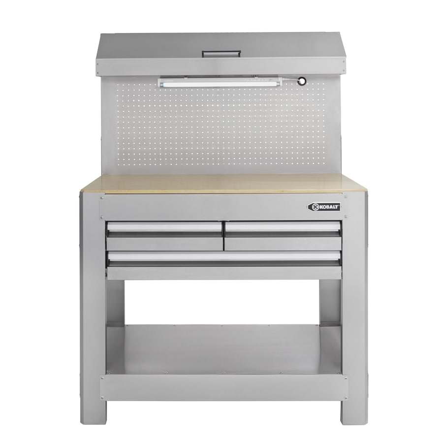 shop kobalt 45-in w x 36-in h 3-drawer wood work bench at lowes