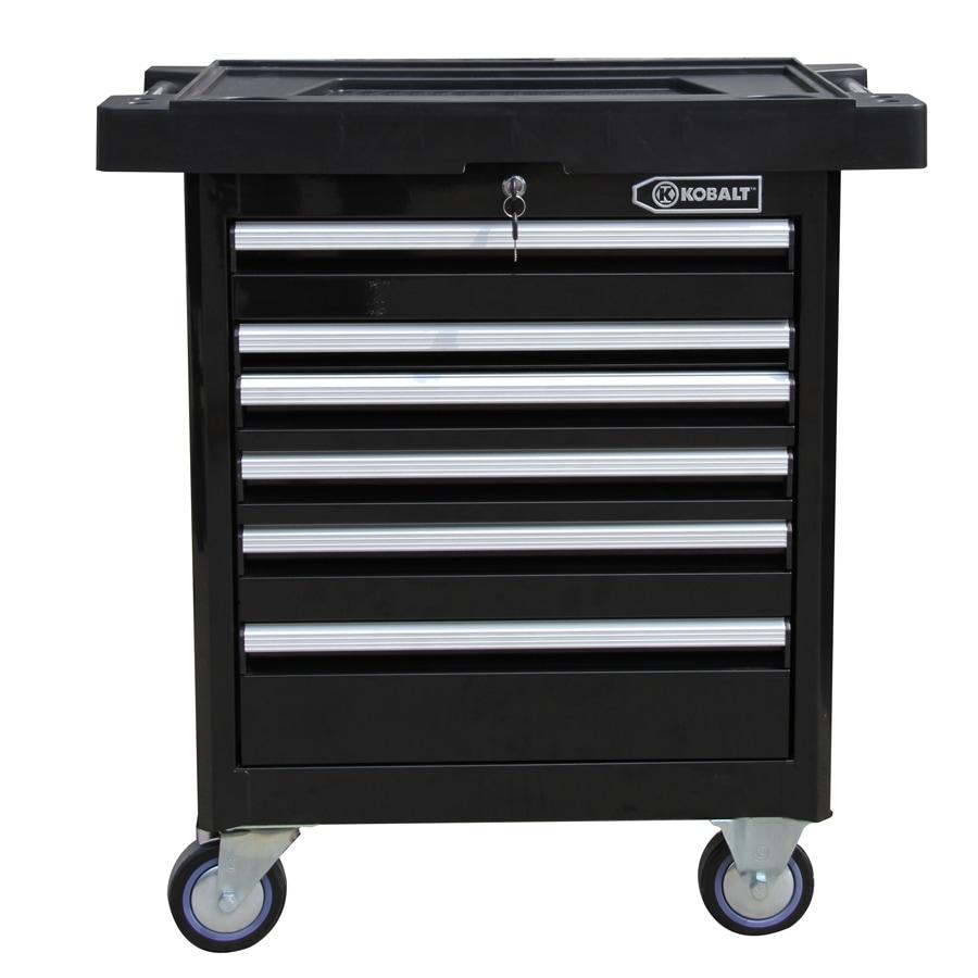 Kobalt 35.6-in x 27-in 6-Drawer Ball-Bearing Steel Tool Cabinet (Black)