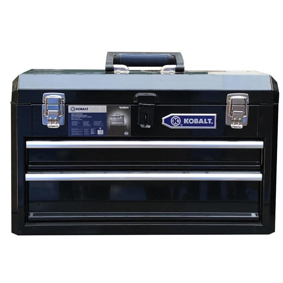 shop kobalt portable 20 6 in 2 drawer steel lockable tool box black at. Black Bedroom Furniture Sets. Home Design Ideas