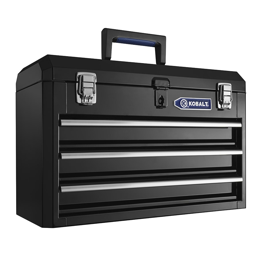 Kobalt Portable 20.67-in 3-Drawer Black Steel Lockable Tool Box
