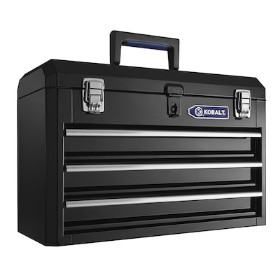 Kobalt Tool Cabinet >> Portable 20 67 In 3 Drawer Black Steel Lockable Tool Box