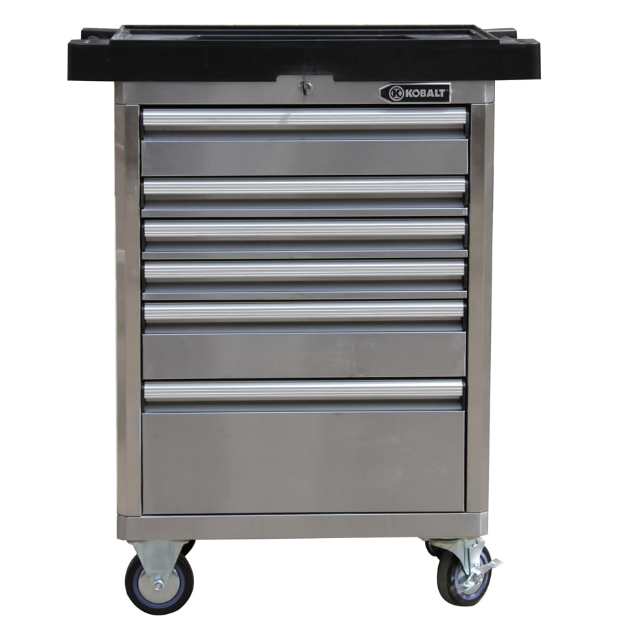 Kobalt 40-in x 33.4-in 6-Drawer Ball-bearing Tool Cabinet (Stainless Steel)