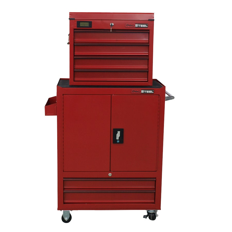 ProSteel 58.4-in x 34-in 6-Drawer Ball-bearing Steel Tool Cabinet (Red)