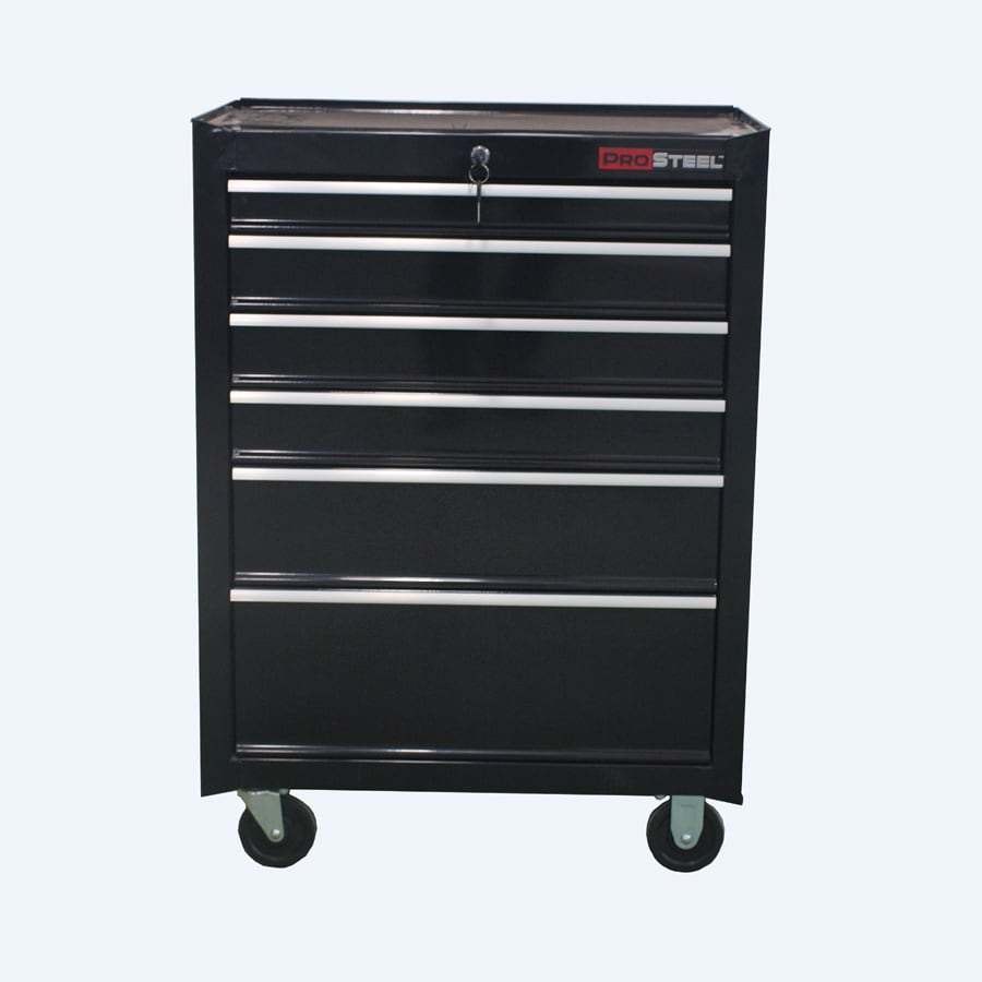 Kitchen cabinet black hardware - 27 In 6 Drawer Ball Bearing Steel Tool Cabinet Black At Lowes Com