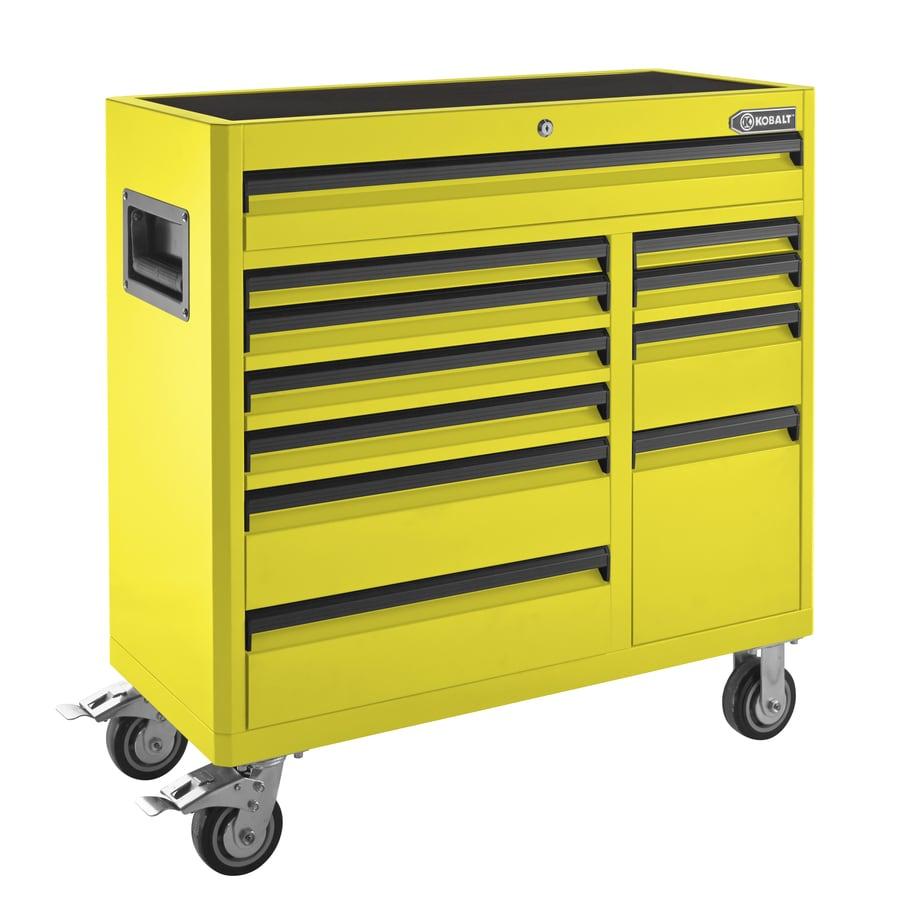 Kobalt 41-in x 41-in 11-Drawer Ball-Bearing Steel Tool Cabinet (Yellow)