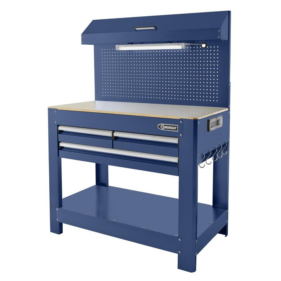 Shop Kobalt 48-in W x 36-in H 3-Drawer Wood Work Bench at Lowes.com