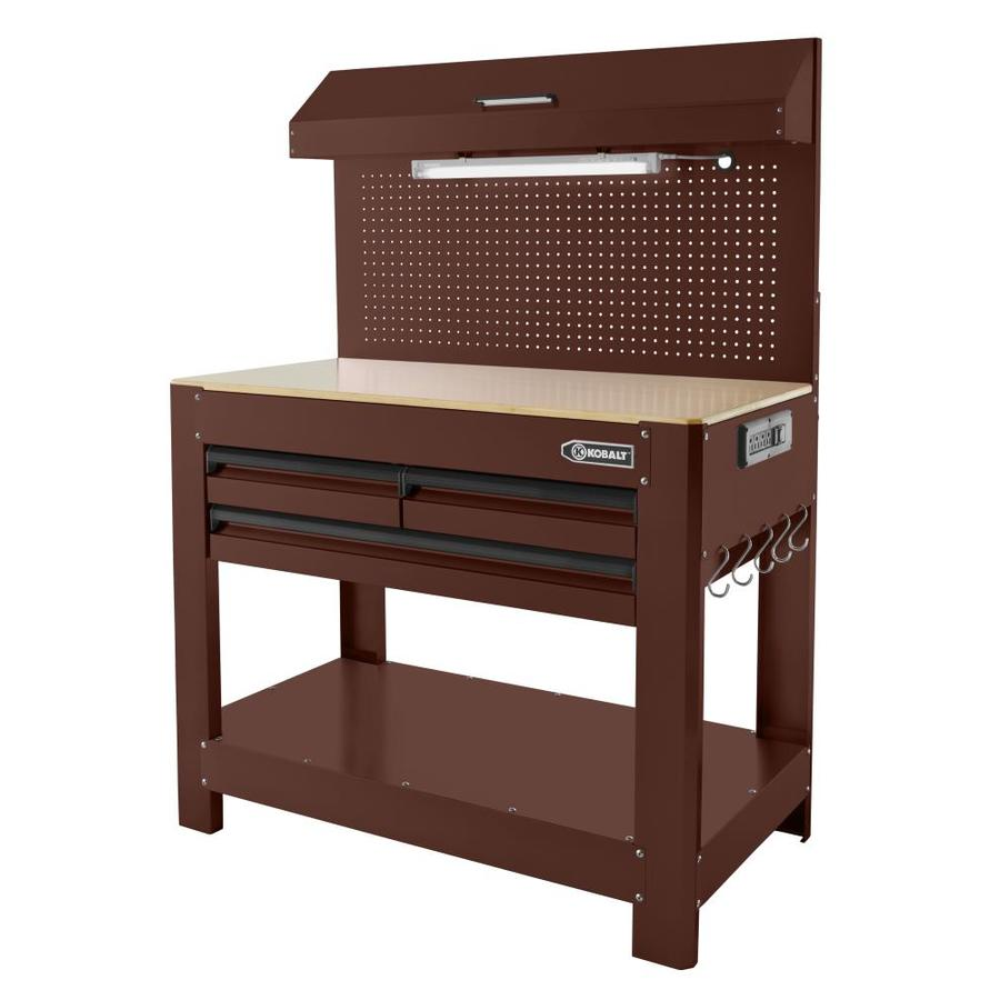 Kobalt 48 In W X 36 In H 3 Drawer Wood Work Bench At Lowes Com