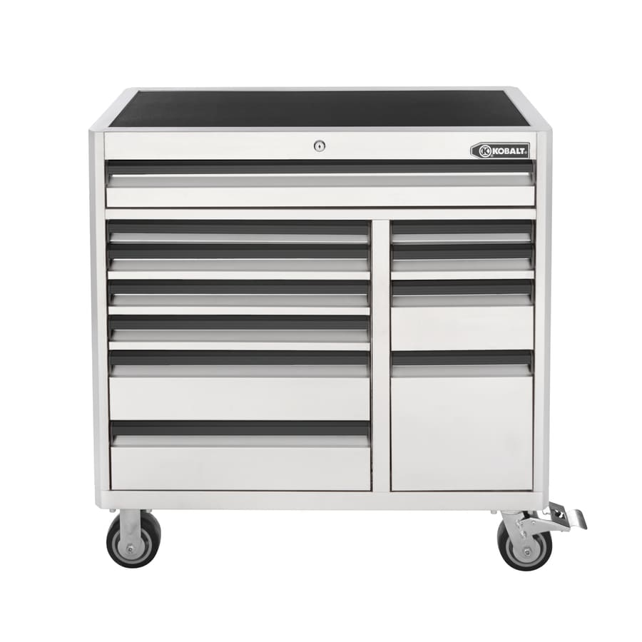 Kobalt 41-in x 41-in 11-Drawer Ball-Bearing Steel Tool Cabinet (White)
