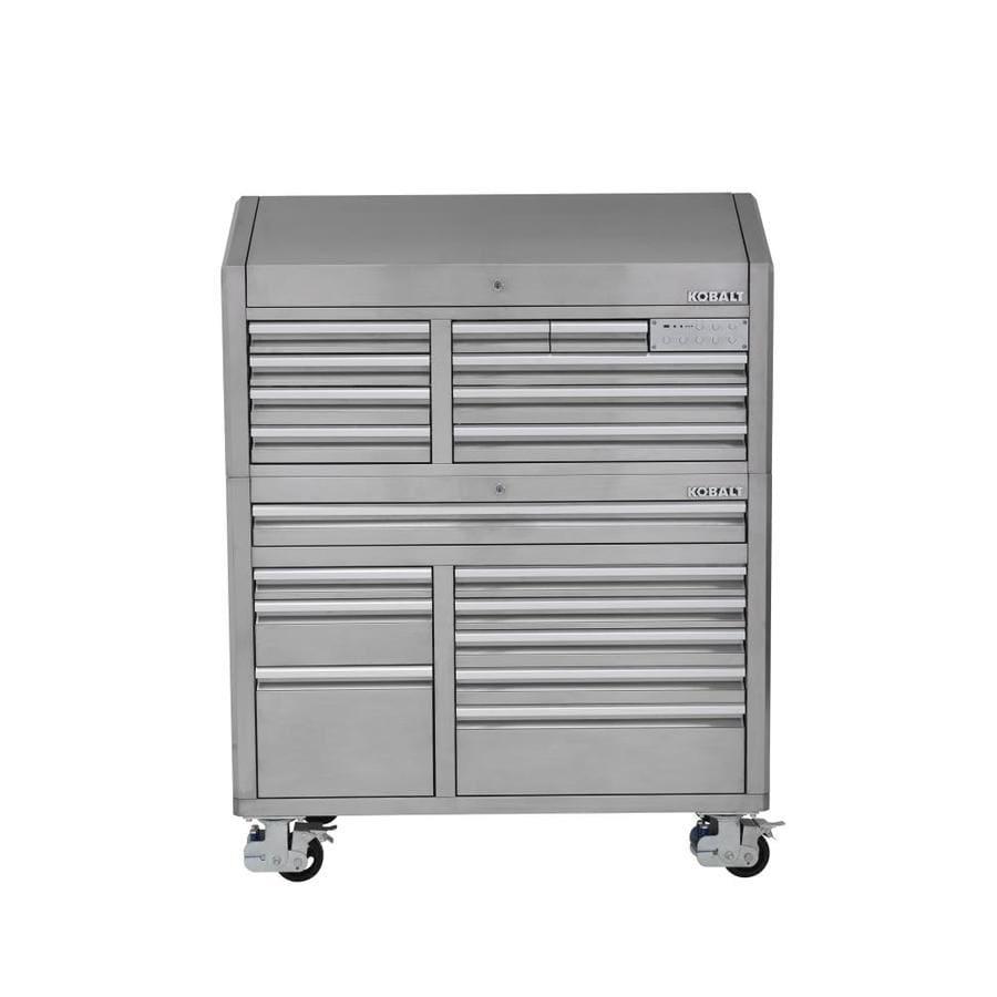 Kobalt 3000 68.7-in x 53-in 18-Drawer Ball-Bearing Tool Cabinet (Stainless Steel)