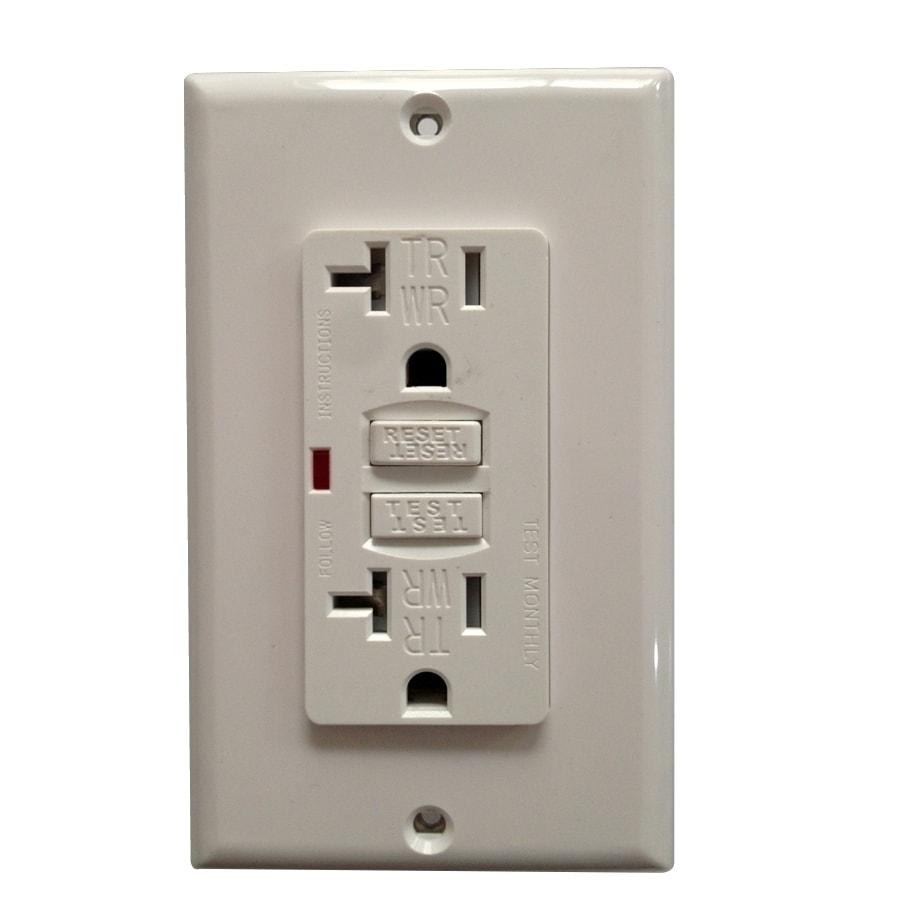 Utilitech 2-Pack 20-Amp 125-Volt White GFCI Decorator Tamper Resistant Electrical Outlet