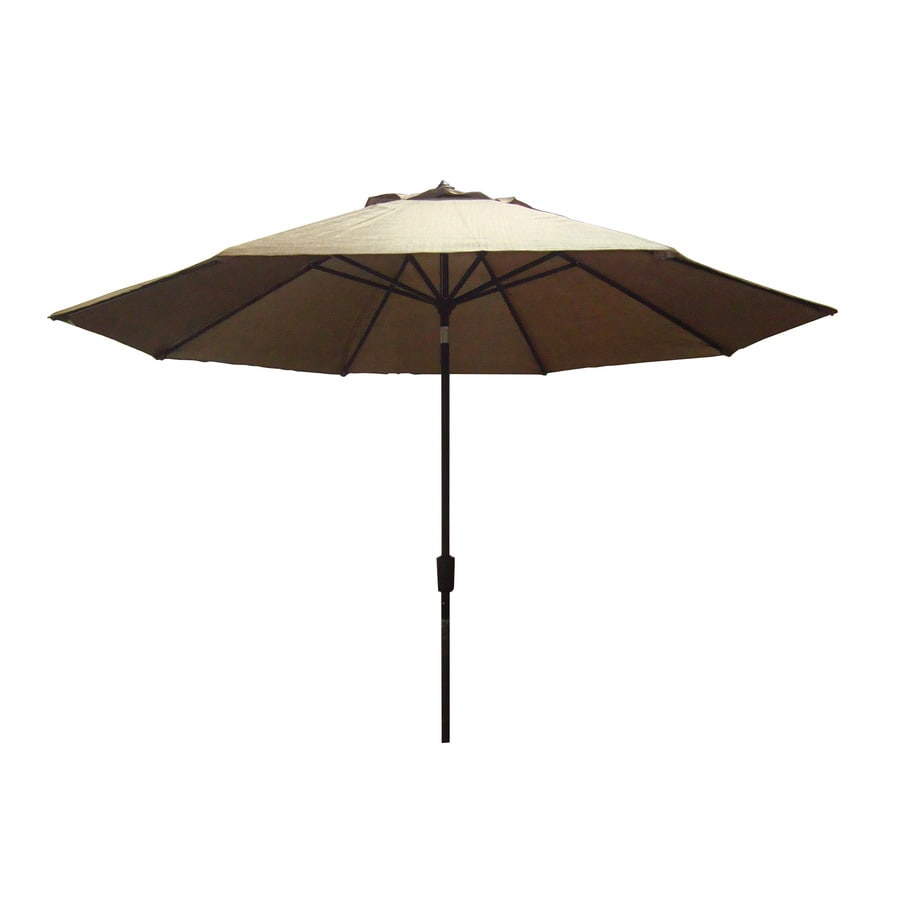 Allen + Roth 11 Ft Light Brown Round Patio Umbrella