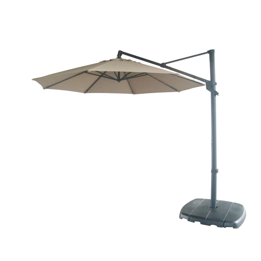 Good Allen + Roth Offset Patio Umbrella With Base (Common: 12.46 Ft W X