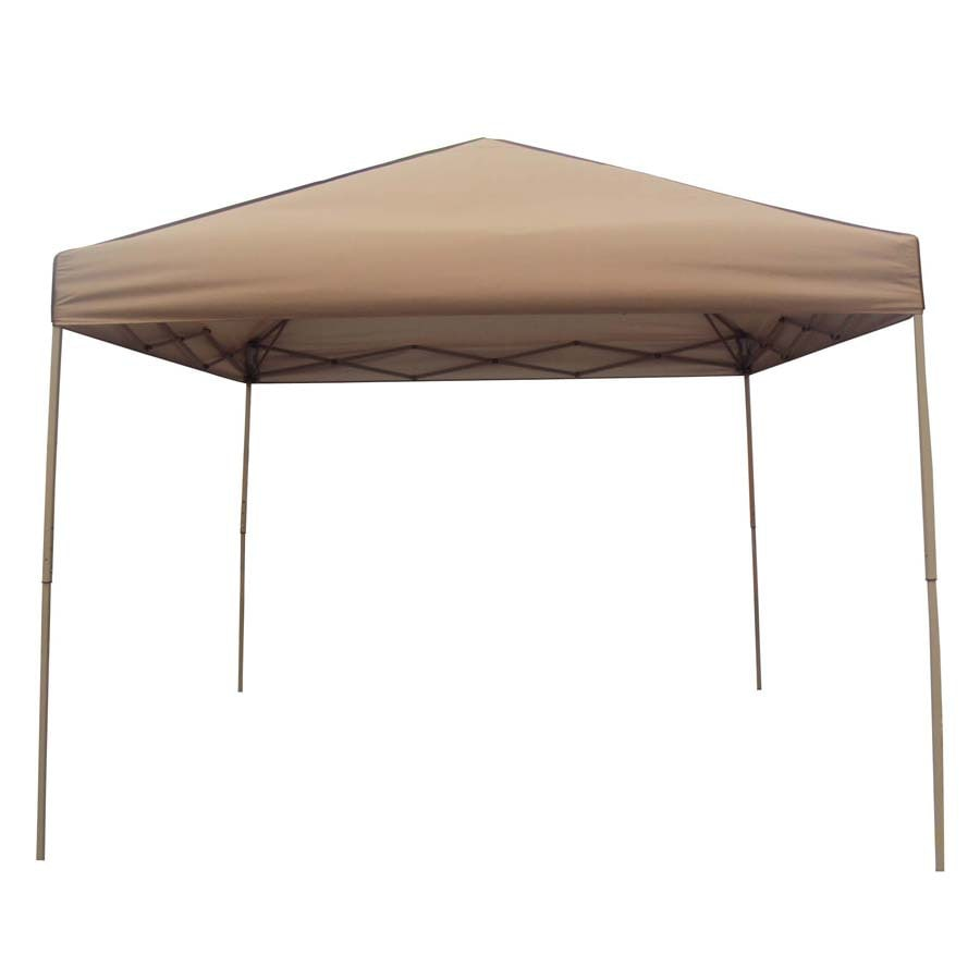 Garden Treasures 10-ft W x 10-ft L Square Tan Steel Pop-Up Canopy