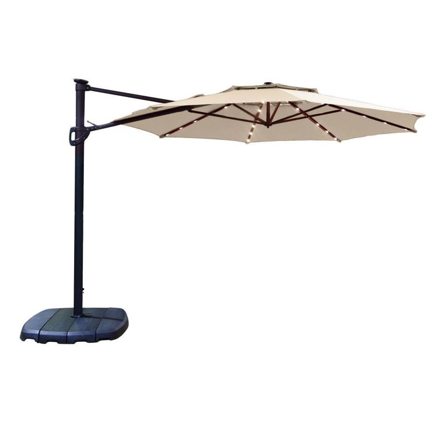 Simply Shade Cantilever Umbrella Tan Offset Pre Lit 11 Ft Patio Umbrella  With Base