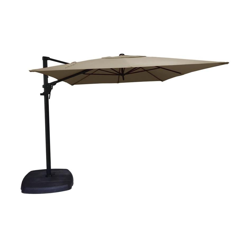 Perfect Simply Shade Tan Offset 11 Ft Patio Umbrella With Base
