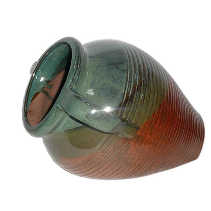 12-3/4-in H x 13-5/8-in W x 10-5/8-in D Copper Ceramic Indoor/Outdoor Planter