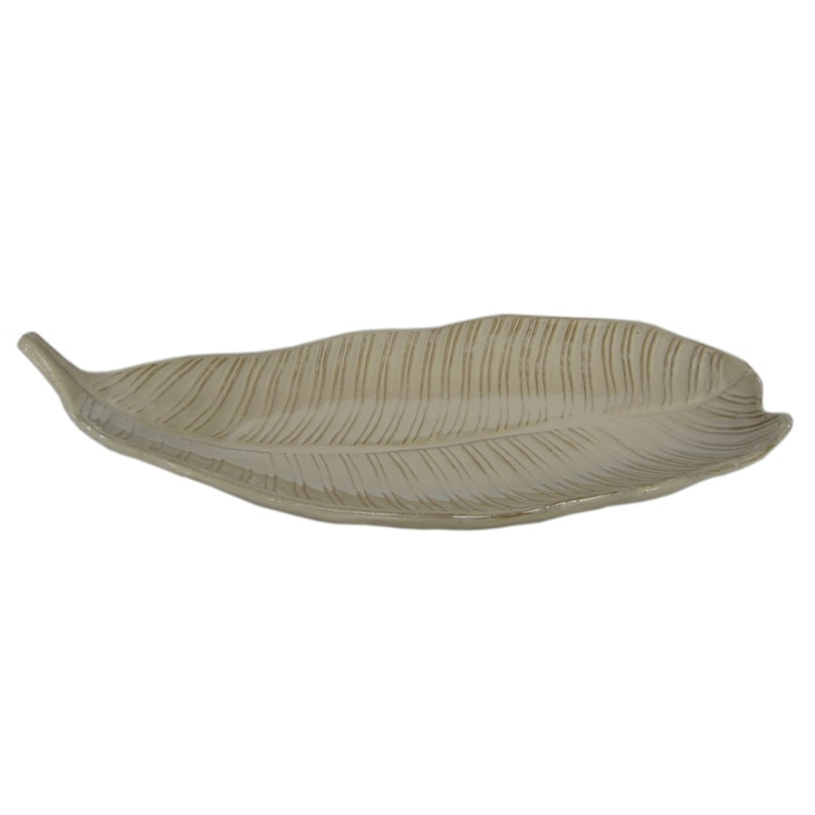 allen + roth Ceramic Leaf Tray 20.87-in x 9.45-in Cream Ceramic Oval Serving Tray