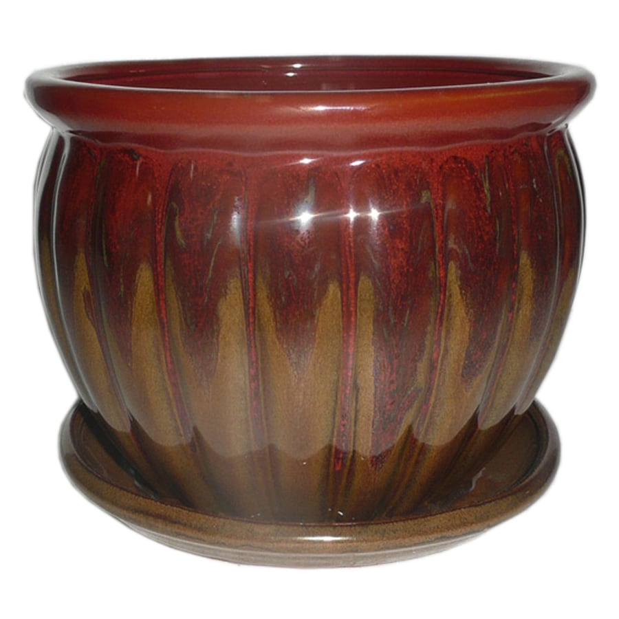 Garden Treasures 8.86 In X 7.87 In Brown Red Ceramic Planter