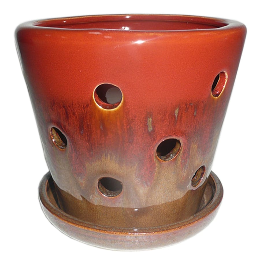 Garden Treasures 4.72 In X 5.28 In Brown Red Ceramic Planter
