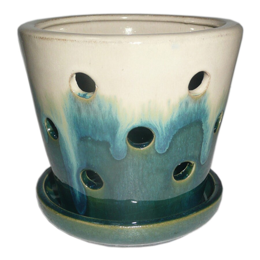 Garden Treasures 4.72-in x 5.28-in Teal Cream Ceramic Planter