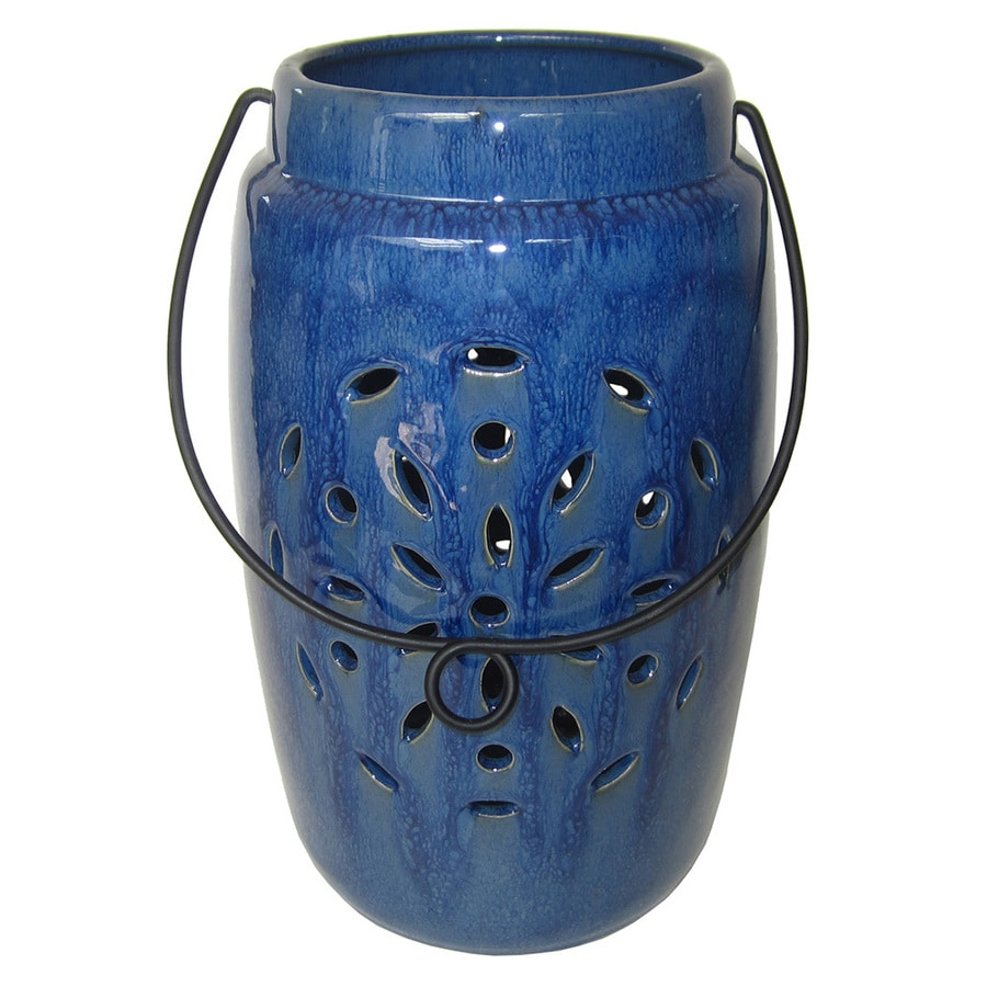 Shop 709 in x 114 in Dark Blue Ceramic Pillar Candle Outdoor