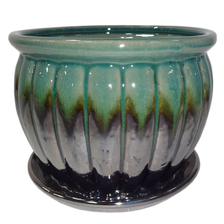 Garden Treasures 8.86-in x 7.87-in Metallic Green Ceramic Planter