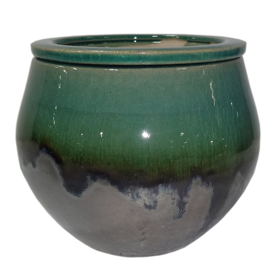 Garden Treasures 4.72 In W X 5.12 In H Metallic Green Ceramic Self Watering