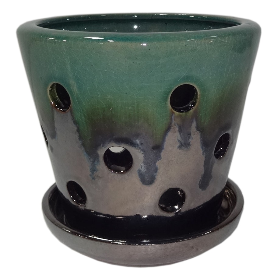 Garden Treasures 4.72 In X 5.28 In Metallic Green Ceramic Planter