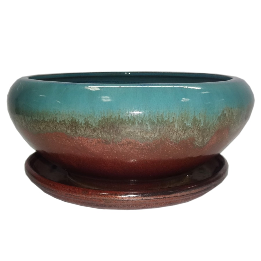 Garden Treasures 8.07 In X 4.49 In Copper Green Ceramic Low Bowl Planter