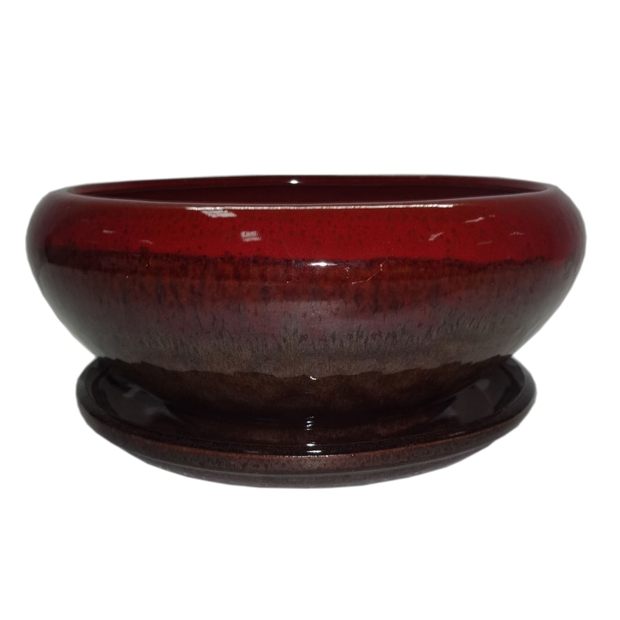 Garden Treasures 8.07-in x 4.49-in Brown Red Ceramic Low Bowl Planter