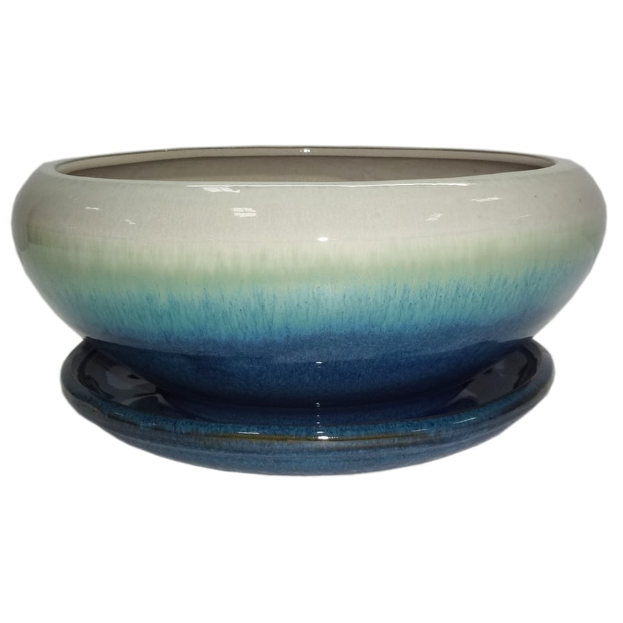 Genial Garden Treasures 8.07 In W X 4.49 In H Teal Cream Ceramic Low Bowl